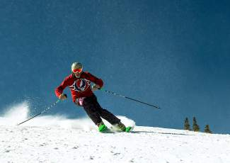 Arapahoe Basin Enduro veteran Edwards Boardman, aka Dead Head Ed, makes a few pristine during during the event in 2015. In the past 27 years, Dead Head Ed hasn't missed a single Enduro, making him the longest-running participant in the event's history.