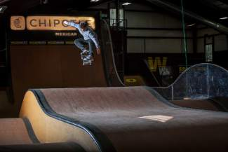 Denver's David Reyes clears the roller ramp on the indoor features at Woodward Copper. Woodward launches a full summer of skateboard, ski, snowboarder and BMX camps this weekend, with a slew of guest pros like Reyes committed to helping campers during sessions.