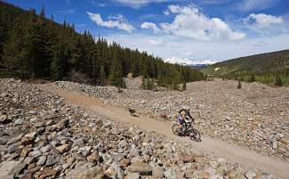 The Gold Run Rush race route in the French Gulch trail system of Breckenridge, Colorado.
