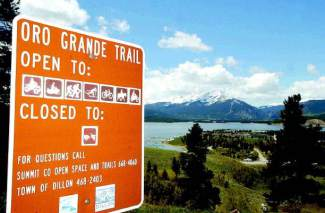 The Oro Grande trail is shared by many recreationalists and offers outstanding views of Dillon Reservoir, the Tenmile and Gore Ranges. The Oro Grande is one of the few singletrack trails dry enough to use early in the summer.
