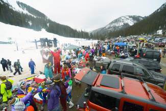 Hundreds of people arrived at Arapahoe Basin Ski Area on Wednesday, April 1, 2015, dressed in neon, denim, sequins, spandex, velour, cowboy hats and wigs to celebrate the annual tradition of Gaper Day.