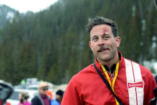 One man cut his forehead while doing a trick off a small jump at Arapahoe Basin Ski Area on Wednesday, April 1, 2015, during Gaper Day festivities.