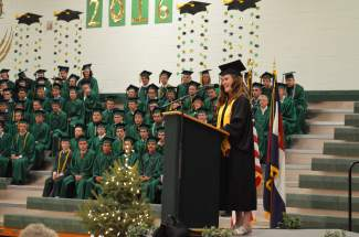 Valedictorian Cait McCluskie encouraged students to stay strong in the face of future challenges. She will attend St. Olaf college in Minnesota, pursuing degrees in theater and math.