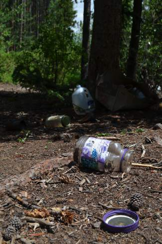 Trash is prevalent at previous campsites along Montezuma Road in Keystone following notable long-term and illegal residential stay overs.