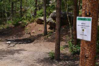 Recently installed signage informs passersby along County Road 5 in Keystone that overnight camping is prohibited there following the Forest Service's emergency closure due to increased human-bear encounters.