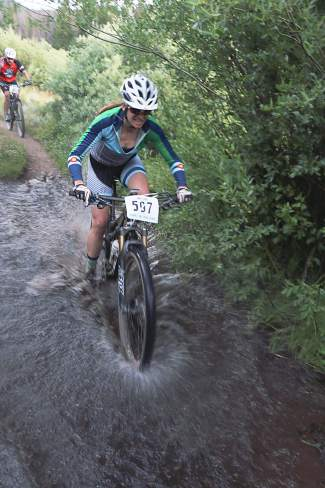 Longtime Summit resident Christena Ward at the 2015 Soda Creek Scramble, race five of the local Summit Mountain Challenge Series. Ward uses the town mountain bike series to train for Xterra races throughout the summer.
