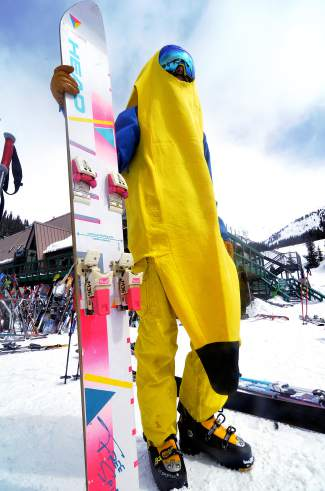 Like something from the Miami coast: A banana suit is only half of the Gaper Day outfit for Denver's Roy Hobbs. He found the '80s-era Head monoski on eBay a few years ago and started cobbling together the ultimate neon ride, including bindings he Frankensteined from a pair of thrift store skis.