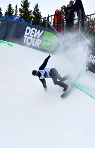 Defending Dew Tour halfpipe champion Taylor Gold slashes his way to second place at the men's snowboard superpipe semifinal in Breckenridge on Dec. 10. The finals begin at 12:30 p.m. on Dec. 12.