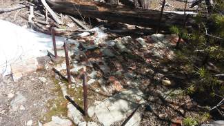 The foundation and fireplace structure of one cabin are almost all that remain from Masontown.