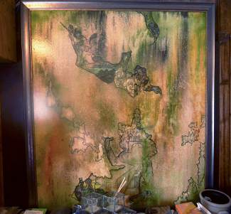 A painting from surrealist Charles Trois in the bedroom on the second floor of the Brown Hotel in Breckenridge. Proprietor Mike Cavanaugh has collected vintage art for nearly four decades and wants the renovated hotel to be a combination visual and musical art studio.