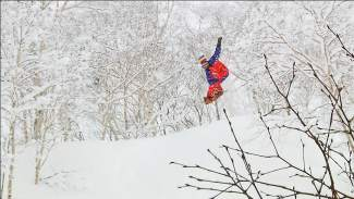A straight air in the Japanese backcountry for