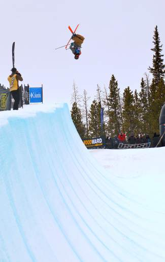 Sammy Schuiling of Steamboat Springs airs over the deck during the men's open halfpipe finals at the 2016 USASA National Championships for skiing in Copper on April 12. Schuiling took second behind New Zealand's Finn Bilous.