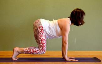 Floating cow yoga posture for golfers.