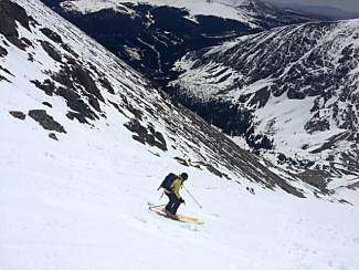 Turns to be had: Breckenridge local Larry Crispell having fun in the Cristo Couloir on Quandary Peak earlier this week, shot by outgoing Breck mayor John Warner