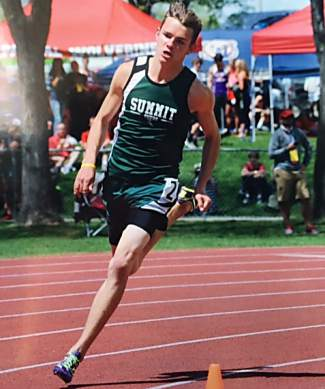 Speedster: Summit senior Nate Martin rounds a bend all alone during the 400m qualifiers at the 4A State Track and Field Championships in Lakewood from May 18-20. Martin placed 7 of 9 in the 400m finals and was the only 4A Western Slope runner to qualify.