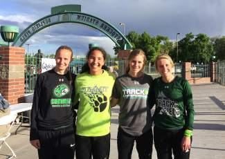 The Tigers 4x400m relay team (from left): Megan McDonnell, Jess Horii, McKenna Ramsay and Ruthie Boyd. All four are seniors and all four are currently chasing a Summit High School record at the 2016 4A State Track and Field Championships in Lakewood this weekend.