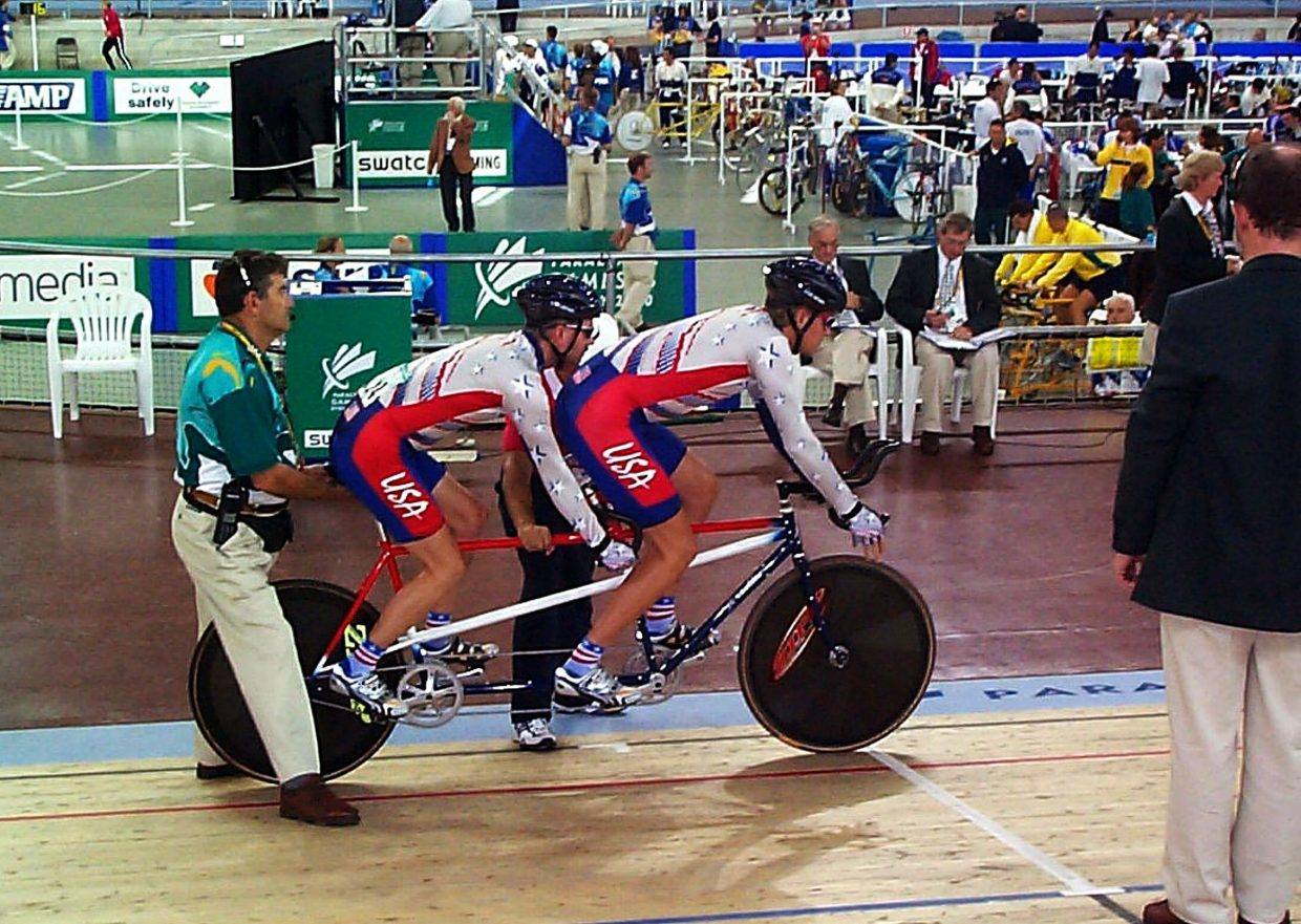 Summit Cove resident Bill Ramsay (front) with Paralympic cyclist Randy Hampton at a race leading up to the 2000 Paralympic Games in Sydney, Australia. The two competed at the Games en route to a seventh-place finish at the 2002 World Championships in Germany.