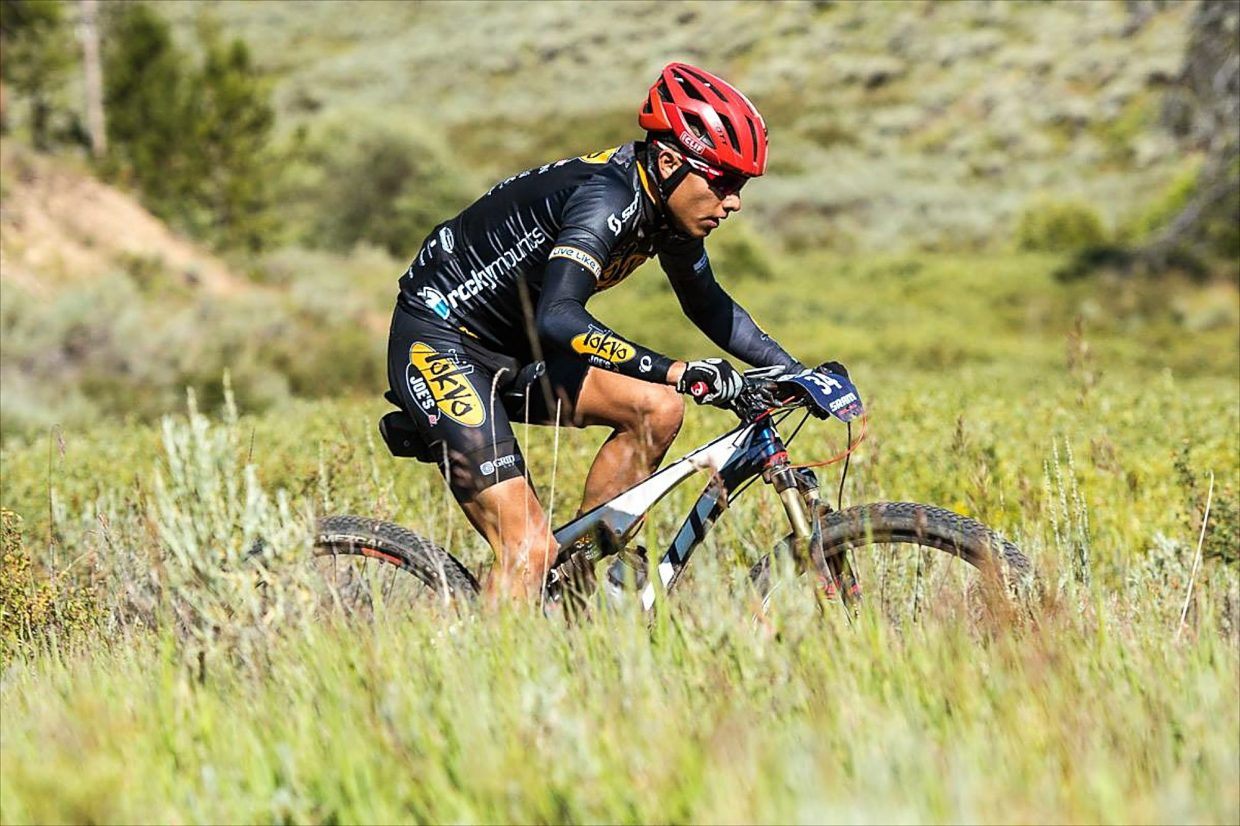 Eagle County local Cristhian Ravelo reaches the highest point of Stage 3 at this year's Breck Epic. After a breakout season, Ravelo will be one of the hometown favorites to reach the Vail Outlier cross-country podium.