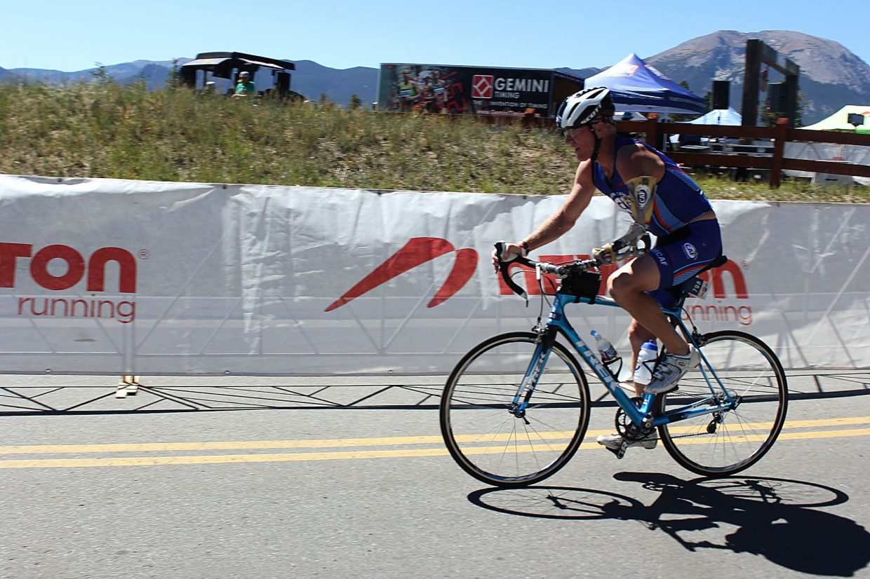 """""""One-Arm"""" Willie Stewart finished the 56 mile bike portion of the 106 West Triathalon at just over three hours."""
