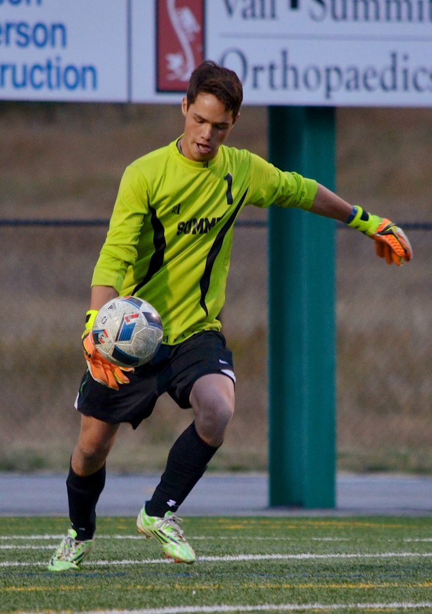 Summit junior goalkeeper Kyle Wertz kicks the ball downfield during a home varsity soccer game against Steamboat Springs on Sept. 22. The Tigers won, 4-2.