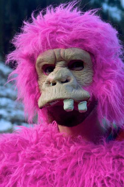 A pink monkey (aka Jamie Humphrey of Denver) before opening day at Arapahoe Basin on Oct. 21. The ski area saw roughly 3,000 skiers and riders for the kick-off to ski season in North America.