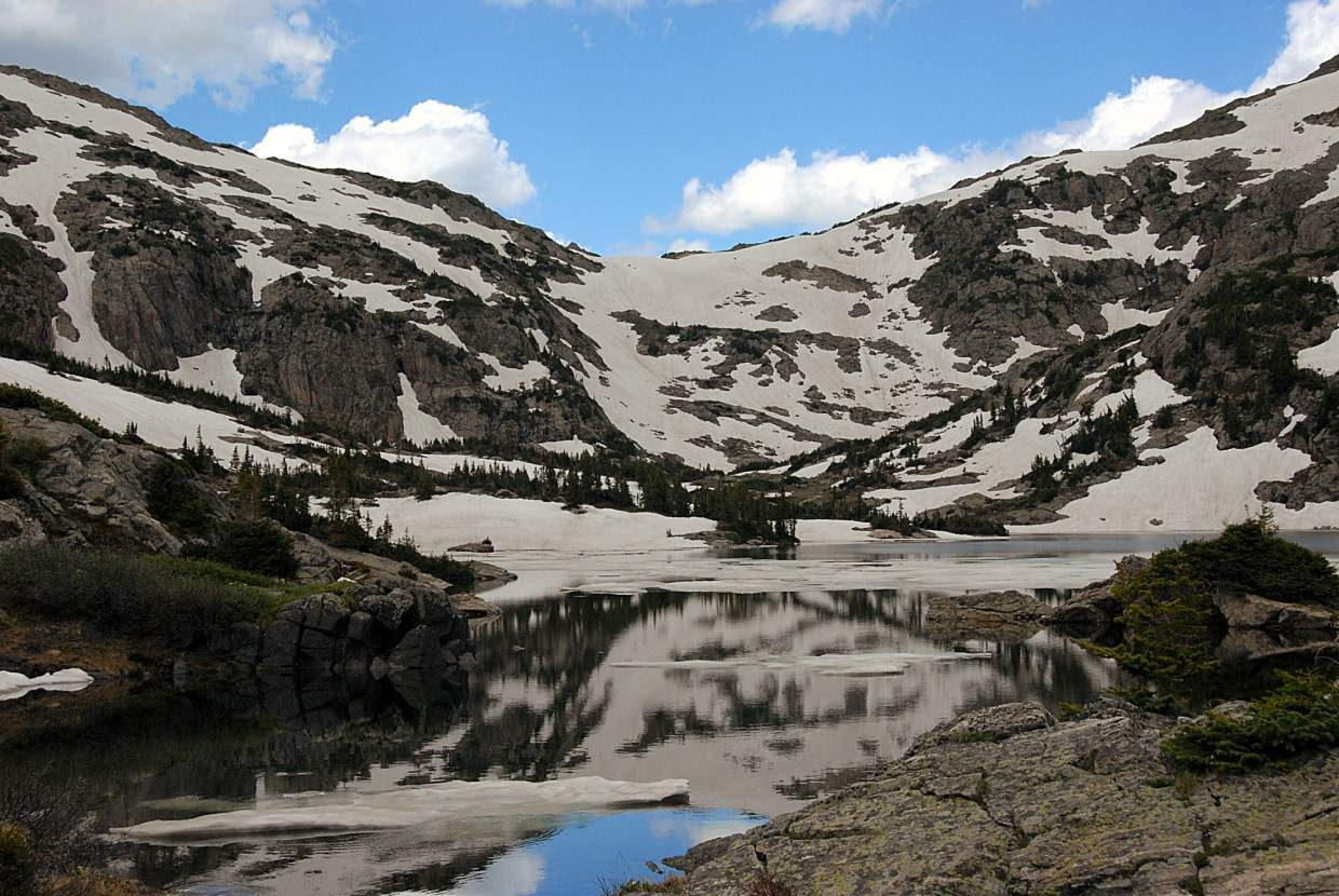 Missouri Pass in mid-July. By August, most of the snow has melted to reveal rocky switchbacks until the first serious snows in October.