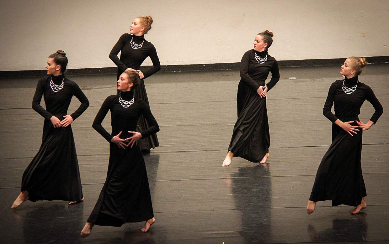 Summit High senior Megan Kidd (second from right) during the International Dance Challenge competition in Denver. In lieu of a poms or cheers squad at the high school, Kidd regularly travels across the state with teammates from the Alpine Dance Academy for competitions.