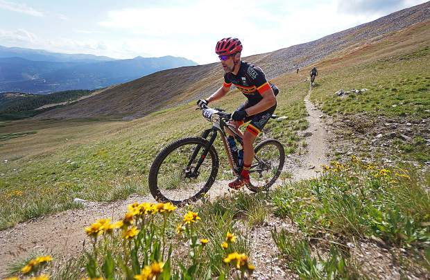 Muller Byrnes rides along the Wheeler Trail on Peak 9 during Stage 5 of the Breck Epic Thursday, Aug. 18, 2016.