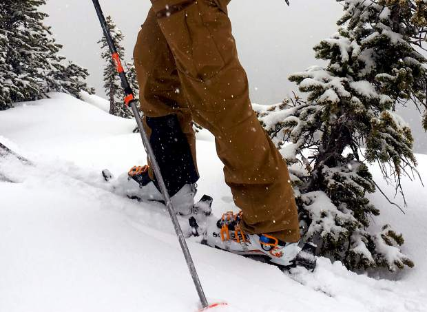 The author on a touring trip in the Scarpa Maestrale RS alpine-touring boot. The boot is an updated version of the original, with a full Vibram sole and updated tongue design.