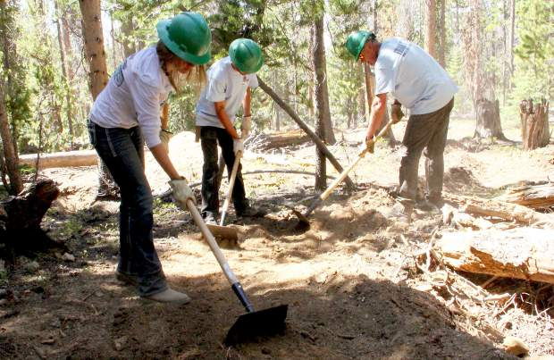 Trail crews with Summit County Off-Road Riders work in the Golden Horseshoe area of Breckenridge. It's home to a new stretch of multi-use trail, built in part by volunteers with Friends of the Dillon Ranger District and SCORR.