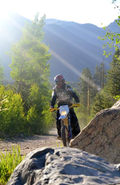 Tim Nixon of Summit County Off-Road Riders on a section of Miners Creek Trail in the Frisco area. Most trails connecting with Miners Creek are closed to motorized travel.