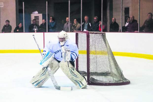 Summit County local Hanna Markel in the goal during a past hockey game. This winter, the former Summit High School student and graduate of Northwood School in New York committed to NCAA Division I hockey with the University of Minnesota-Duluth.