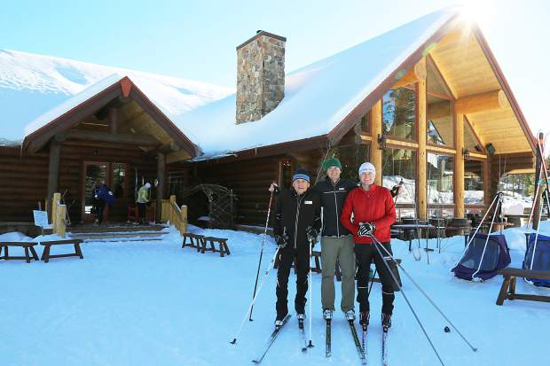 Gene, Matthew and Josh Dayton pause during a brief cross-country ski outing at the Breckenridge Nordic Center. The majority of Nordic centers in Summit County are open as of Dec. 1, with more trails to follow with more snowfall.
