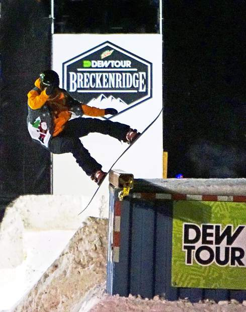 A snowboarder competes in the 2015 Dew Tour streetstyle competition on Washington Avenue in Breckenridge. Streetstyle returns to Dew Tour for 2016 with ski and snowboard contests on Dec. 9.