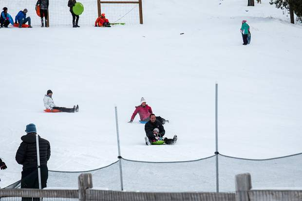 Carter Park sledding hill in Breckenridge was popular this week with a variety of sledding skills been utilized.