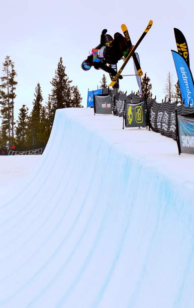 Finn Bilous of New Zealand gets inverted in the halfpipe during the men's open halfpipe finals at the 2016 USASA National Championships for skiing on April 12. Bilous swept the men's halfpipe and slopestyle division.