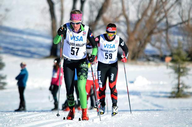 Summit County native Taeler McCrerey (front) joins more than 300 collegiate and ski club athletes this weekend at Gold Run Nordic Center in Breckenridge for a Nordic Junior Nationals qualifier. McCrerey, who won an NCAA title with the University of Denver ski team in 2016, is racing again on hometown snow for the first time in two years.