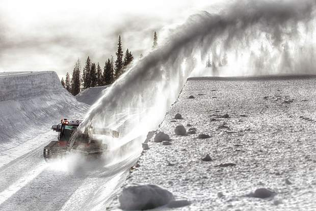 A snowcat finishes carving walls in the Main Vein superpipe at Copper Mountain to prep for the U.S. Revolution Tour Dec. 7-10. The annual event is a mid-level stepping stone in the U.S. Ski and Snowboard Association pipline and draws a slate of national and international competitors.