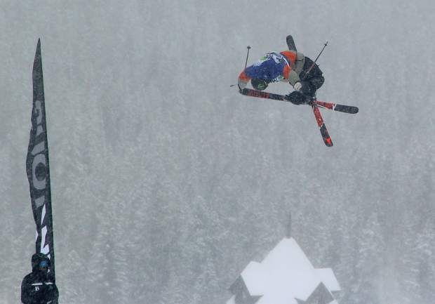 Telluride's Gus Kenworthy sprays to a stop on his second  run during Sunday's Dew Tour slopestlye finals. The Sochi  silvermedalist  earned the top spot in the competition.  Kenworthy also finished fourth in Saturday's halfpipe finals.