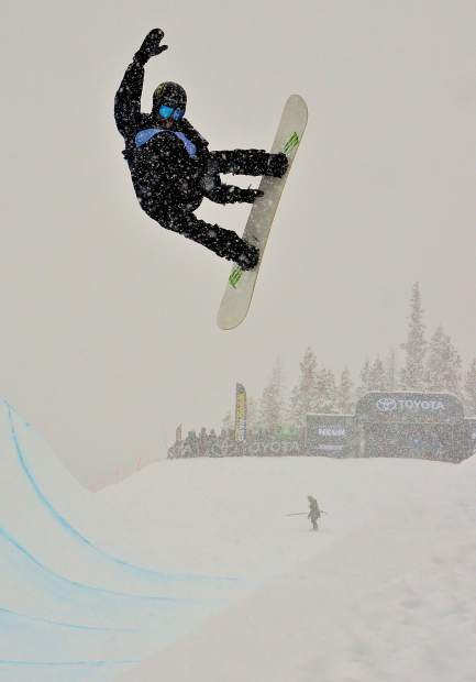Swiss team rider Iouri Podladtchikov airs out of the Main Vein halfpipe during qualifiers for the 2017 U.S. Grand Prix men's snowboard finals. The Russion-born rider known as I-Pod took second overall in the Dec. 16 finals behind fellow Swiss snowboarder Patrick Burgener.