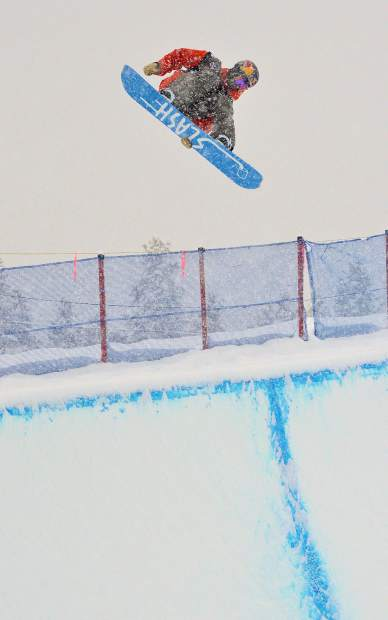 American Greg Bretz spins out of the halfpipe during qualifers for the 2017 U.S. Grand Prix men's snowboard finals at Copper Mountain. Bretzt took ninth overall in the Dec. 16 finals behind first-place finisher Patrick Burgener of Switzerland.