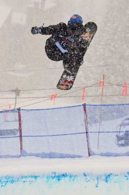 American Louie Vito spins a 1080 during halfpipe qualifiers for the 2017 U.S. Grand Prix men's snowboard finals at Copper Mountain. Vito took fifth overall at the finals on Dec. 16 behind Swiss rider Patrick Burgener in first.