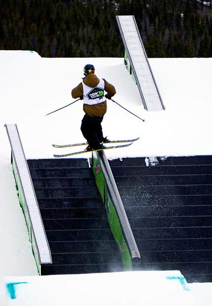 A skier takes a run during the Dew Tour men's slopestyle semifinals at Breckenridge Ski Resort in 2015. The event returns to Breckenridge with a new format Oct. 8-11, including a two-part ski and snowboard slopestyle for men and women on Dec. 9-10.