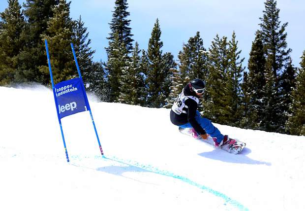 A snowboarder winds through the berms on the course at the 2015 Rhythm Rally Banked Slalom at Copper Mountain. This year, banked slalom makes its Dew Tour debut on Dec. 9 in Breckenridge with men's and women's adaptive races.