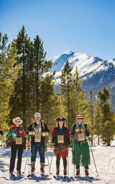 A group of skiers spells out their reason for being at the Frisco Brewski at the Frisco Nordic Center on March 11.