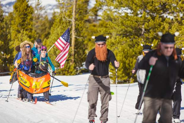 A group of Nordic skiers start boating season a little early on the snow at the Frisco Brewski at the Frisco Nordic Center on March 11.