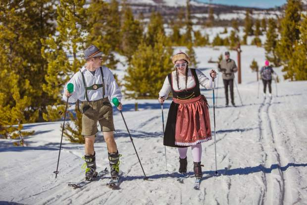 Costumed Nordic skiers in Bavaarian garb enjoy the sights between beer tasting at the second annual Frisco Brewski at the Frisco Nordic Center on March 11.