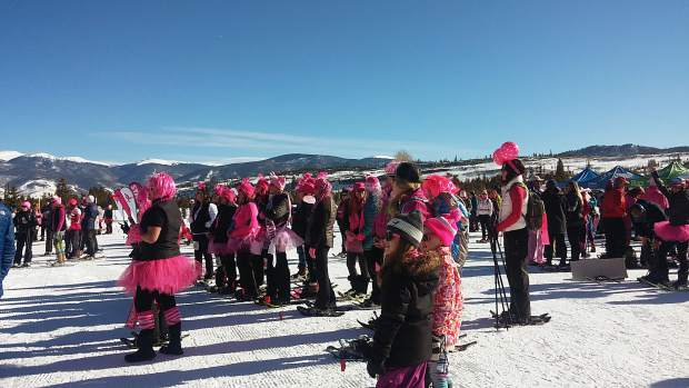 Before the races, snowshoers and supporters gather at the Frisco Nordic Center for the opening ceremonies. In all, 22 states were represented.