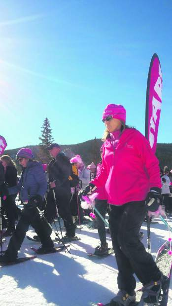 Snowshoers take off from the Frisco Nordic Center for the 5k race.