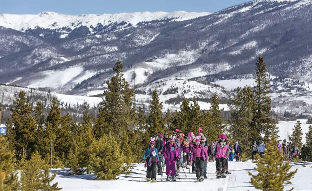 A group of snowshoers on the Frisco Peninsula for a beautiful morning of fundraising at the 15th annual Snowshoe for the Cure on March 4. To date, this snowshoe fun-run through the woods at the intersection of